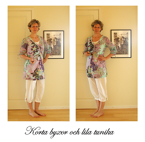 Vita byxor och lila tunika
