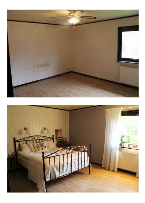 Sovrummet före och efter